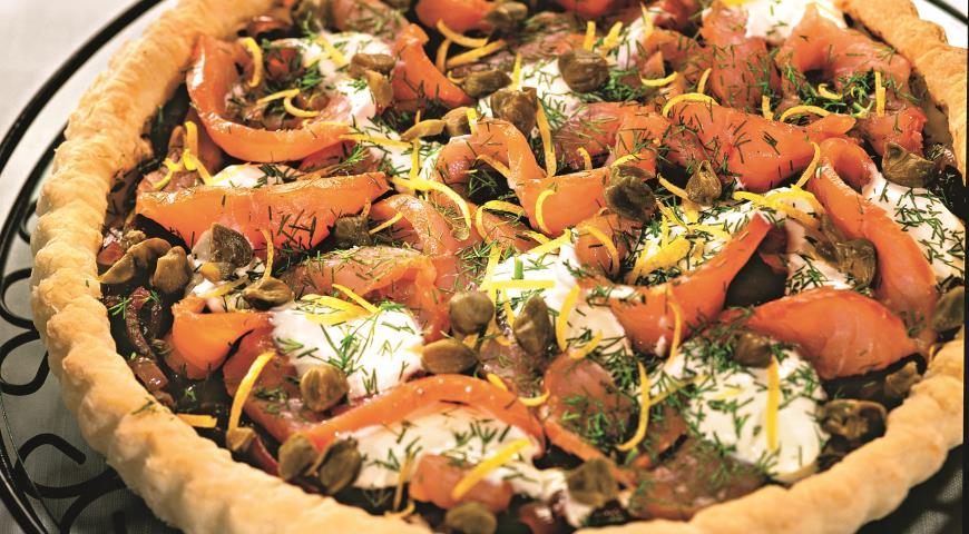 Рецепт Открытый пирог с копченым лососем