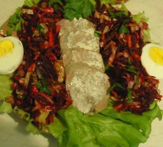 Рецепт Салат с говяжьим языком и овощами