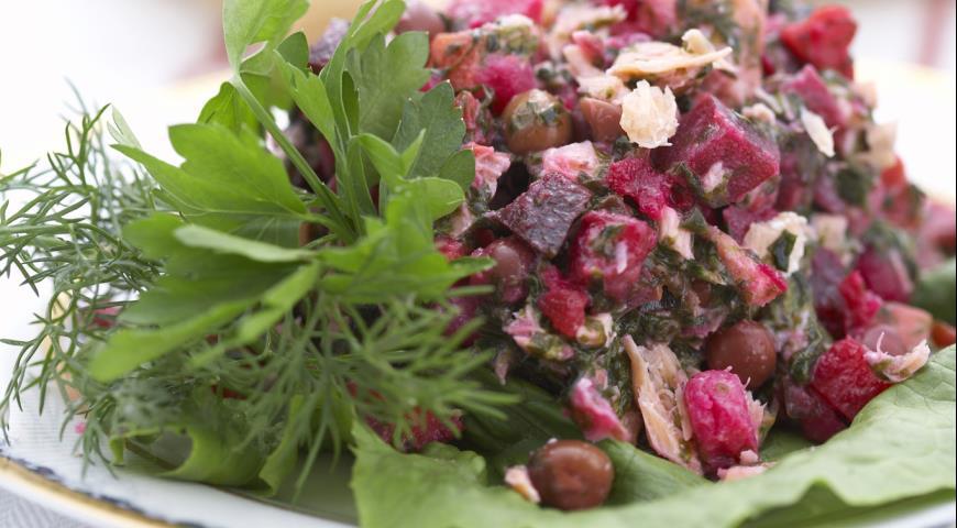 Рецепт Салат Винегрет с морской капустой и рыбой