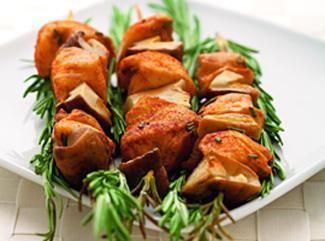 Шашлычки из белых  грибов и курицы