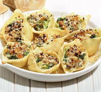 Рецепт Паста ракушки с грибами и брокколи