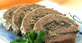 Рецепт Мясной рулет с грибами