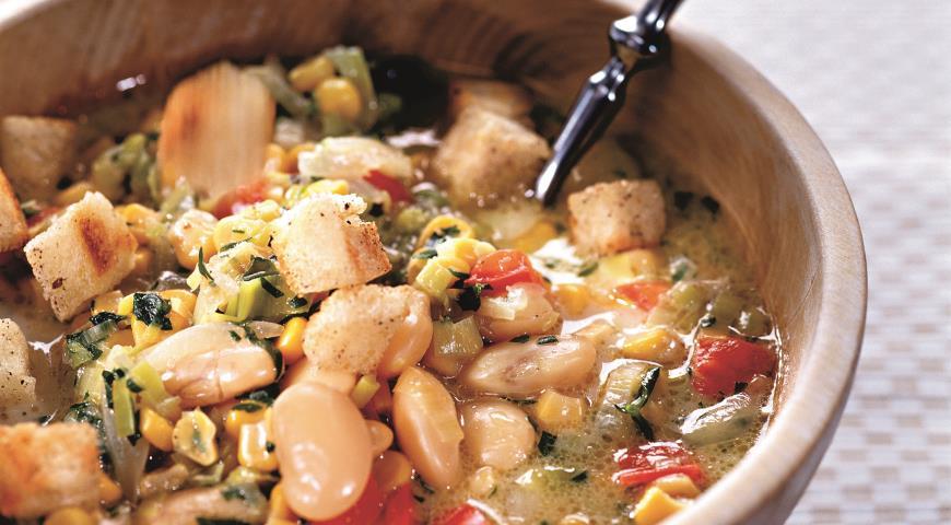Рецепт Суккоташ с крутонами, блюдо из фасоли и кукурузы