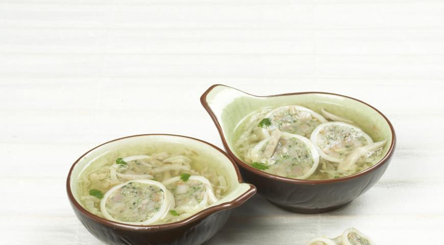 Рецепт Суп с фаршированными кальмарами