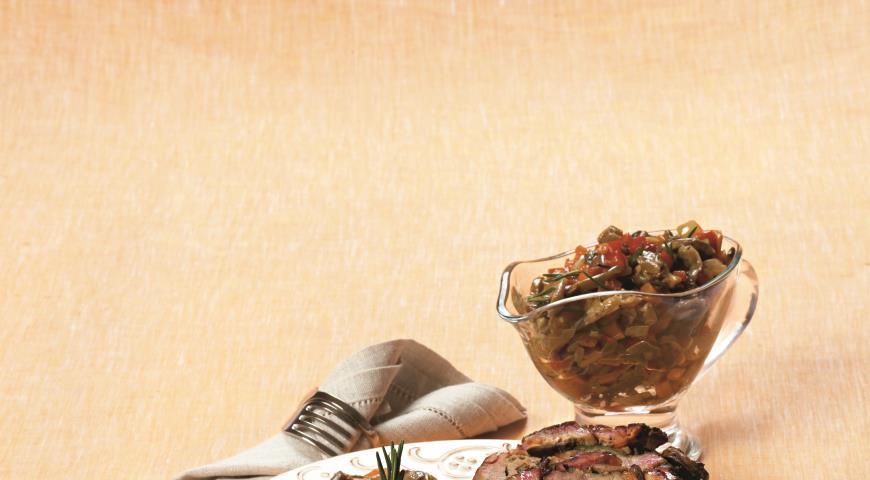 Рецепт Запечённаяв духовке шейка с овощами и грибным соте