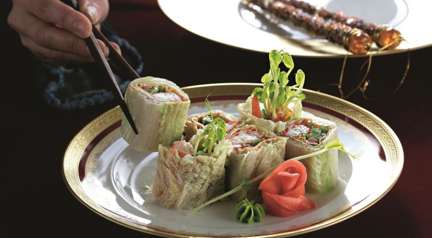 Рецепт Крабы в омлете и китайской капусте