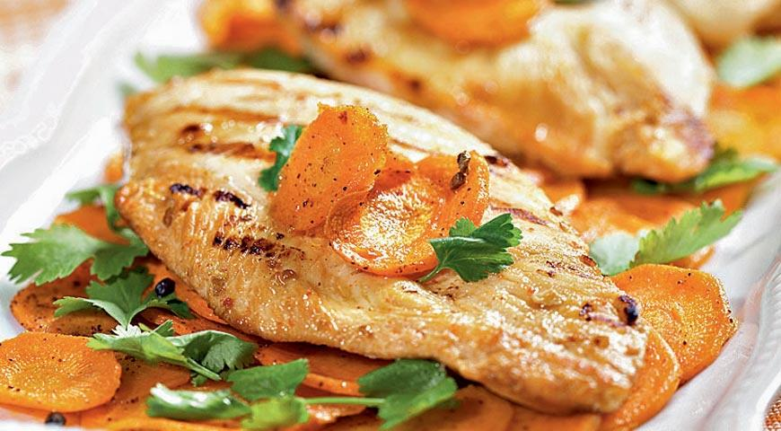 Рецепт Цыпленок в йогурте, жаренный на гриле, и морковь с кардамоном
