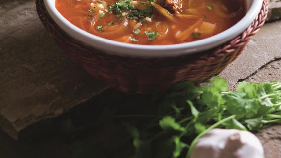 Суп харчо с картошкой и рисом