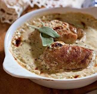 Рецепт Медальоны под горчично-сырным соусом