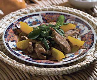 Рецепт Салат со свининой и мандаринами