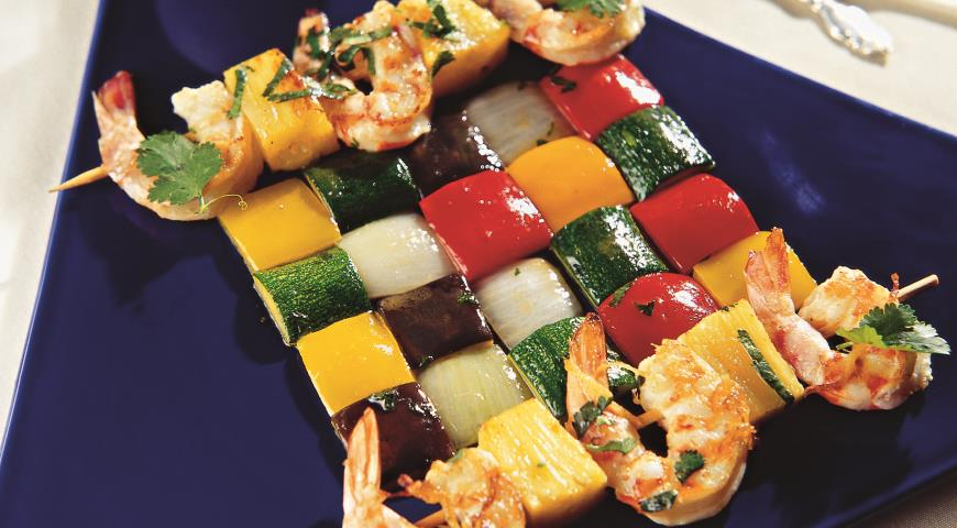 Рецепт Шашлык с креветками и ананасом