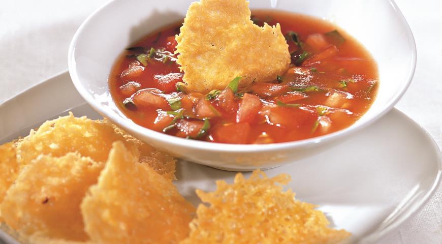Рецепт Вафли из пармезана с томатным соусом