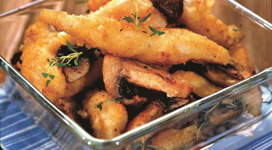 Рецепт Филе трески в кляре с грибами