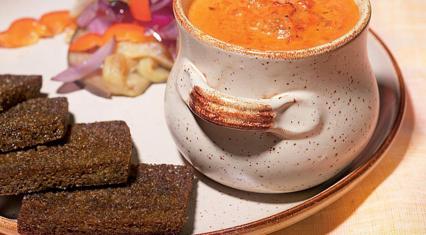 Рецепт Овощи на гриле и брускетта с соусом из томатов и сливок