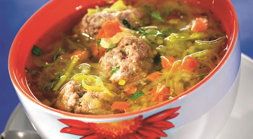 Рецепт Овощной суп с мясными фрикадельками