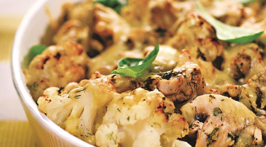 Рецепт Цветная капуста, запеченная с грибами и сыром