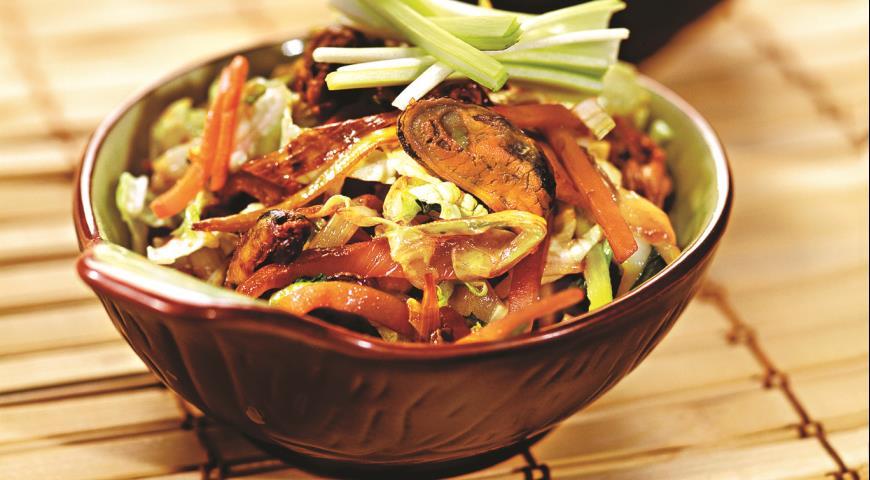 Рецепт Теплый салат с мидиями