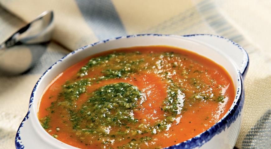 Рецепт Суп из моркови с имбирем и кунжутным песто