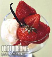 Рецепт Ванильное мороженое с клубничным шербетом
