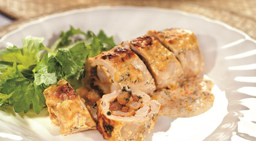 Рецепт Рулетики из куриного филе с креветками