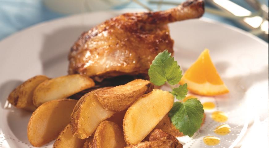 Рецепт Утка в апельсиновом соусе с картофельными дольками
