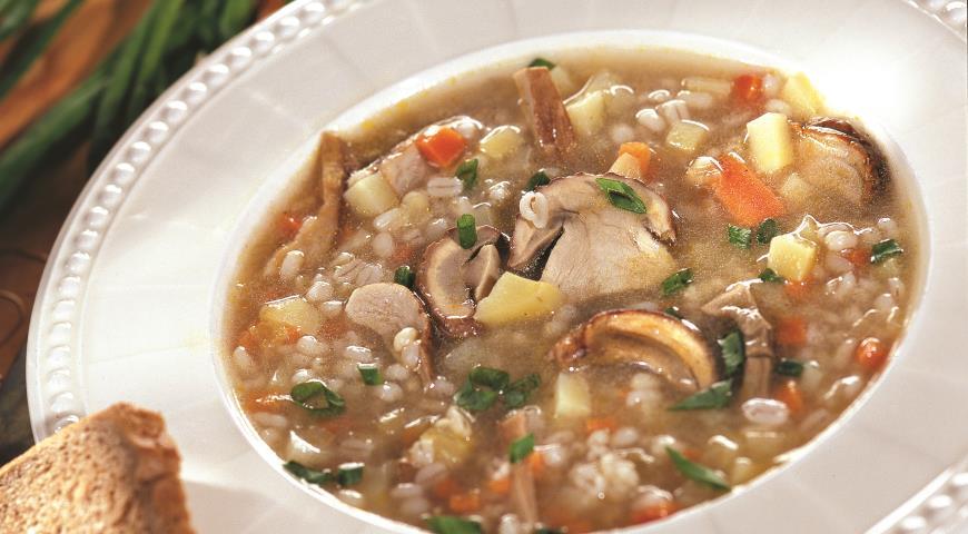 Рецепт Грибной суп с перловкой