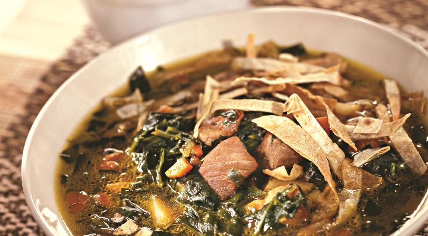 Рецепт Суп из шпината со свининой
