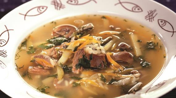 Суп из индейки с сырными гренками, пошаговый рецепт с фото