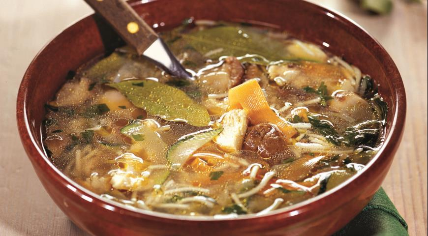 Рецепт Грибной суп с курицей и вермишелью