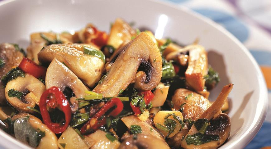 Рецепт Острый салат из шампиньонов