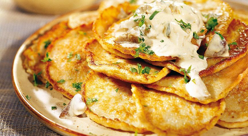 Рецепт Картофельные оладьи с соусом из белых грибов