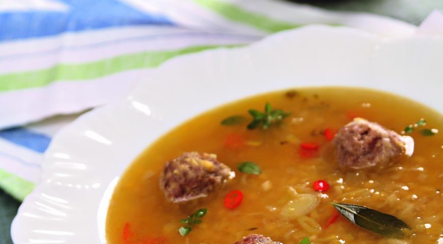 Рецепт Суп из чечевицы с фрикадельками