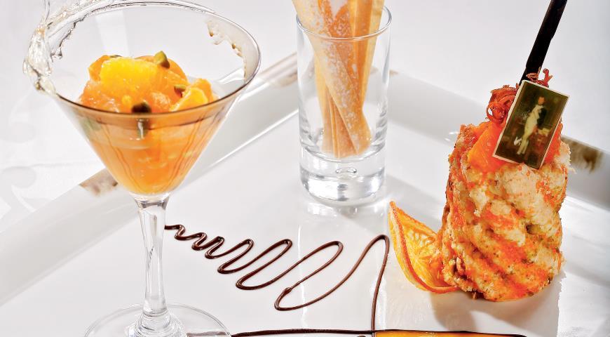 Рецепт Шарлотка с ликером и цитрусовым компотом