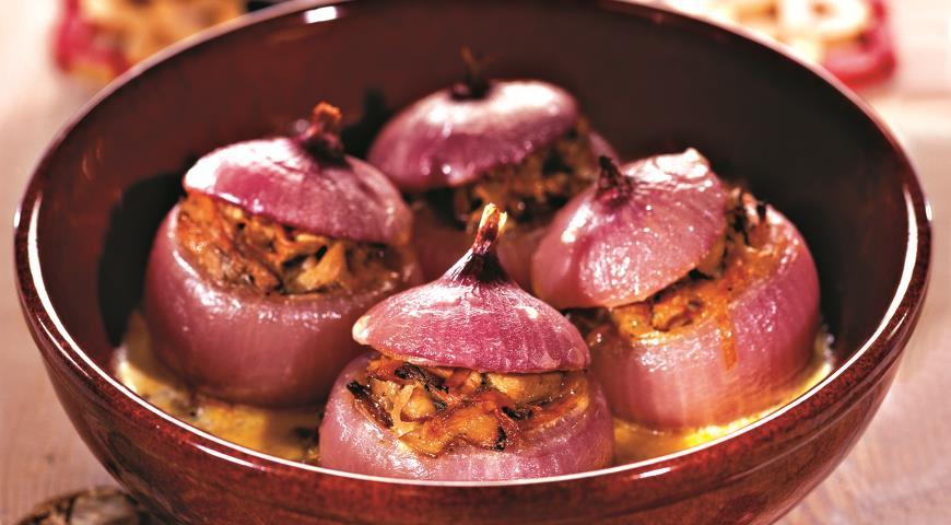 Рецепт Лук, фаршированный грибами