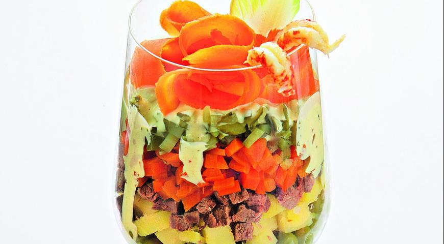 Рецепт Салат Оливье под соусом айоли