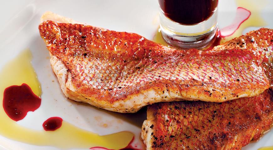 Рецепт Рифовый окунь со свекольно-мятным желе и пеной из текилы