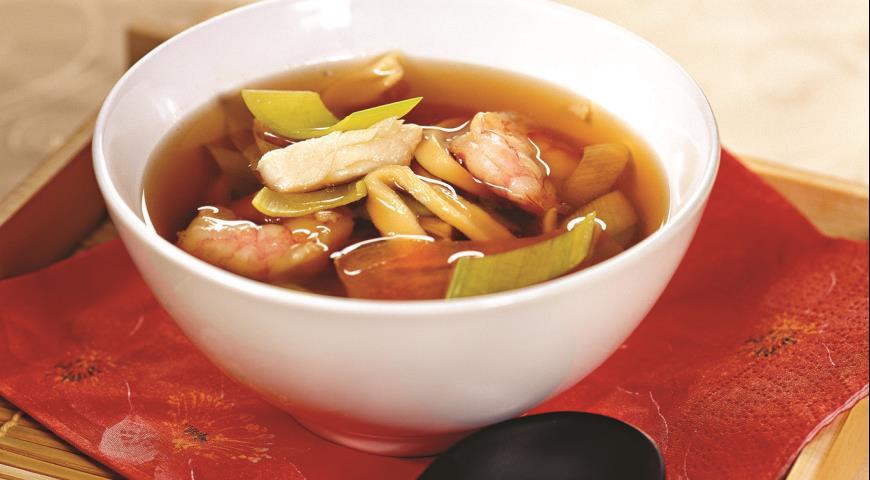 Рецепт Китайский рыбный суп с креветками