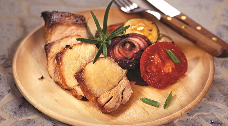 Рецепт Маринованная свинина с овощами-гриль