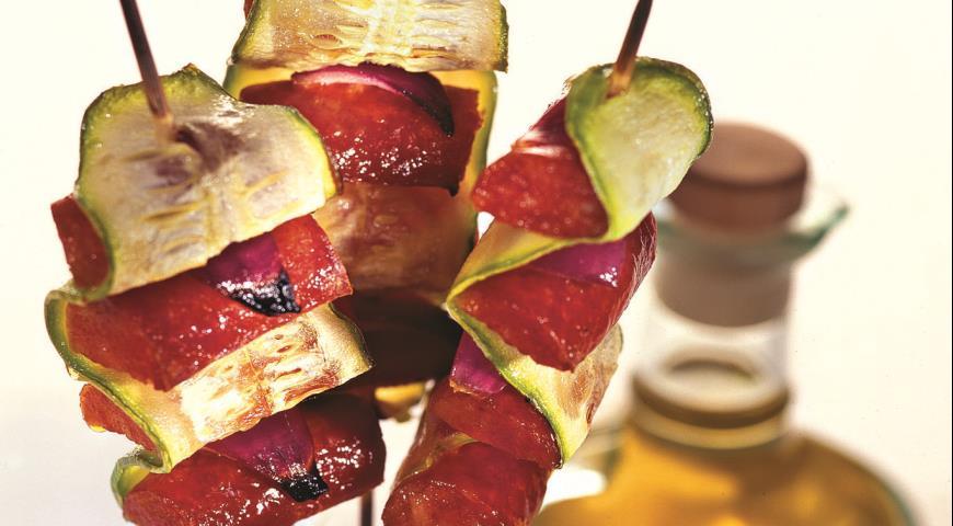 Рецепт Кабачки, жаренные с колбасками