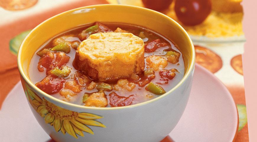 Рецепт Испанский томатный суп с чесночным хлебом