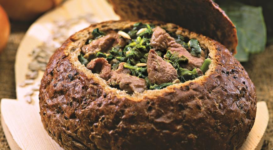 Рецепт Телятина со шпинатом в хлебе