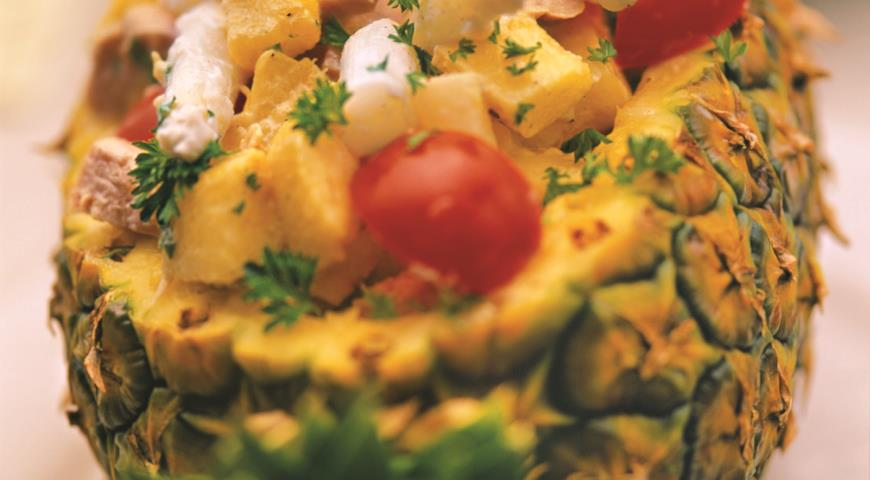 Рецепт Салат из спаржи с ананасом