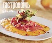 Рецепт Карпаччо из персика с розовым перцем, пармской ветчиной и букетом из зелени