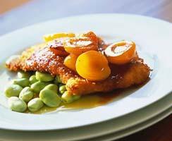Рецепт Свиной шницель с абрикосами