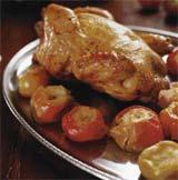 Рецепт Курица, томленная с яблоками ранет и кальвадосом