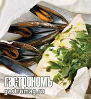 Рецепт Мидии и белая рыба, запеченные в конверте, с шафраном