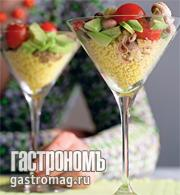 Рецепт Салат из осьминога и авокадо с кускусом