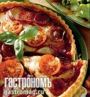 Рецепт Пирог с томатами, красным луком и сметаной