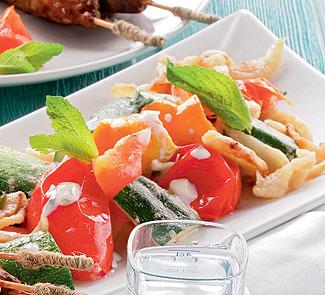 Рецепт Баклажаны, цукини и перец с йогуртом