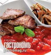 Рецепт Филе телятины с клубничным соусом и глазированным луком
